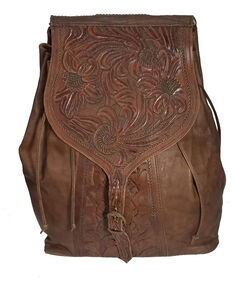 Kobler Leather Women's Tooled Backpack, Dark Brown, hi-res