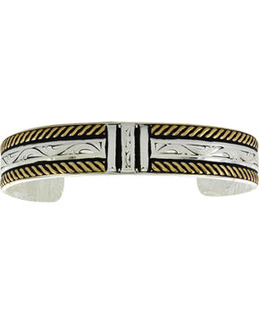 Montana Silversmiths Two Tone Three Bar Cuff Bracelet , Silver, hi-res