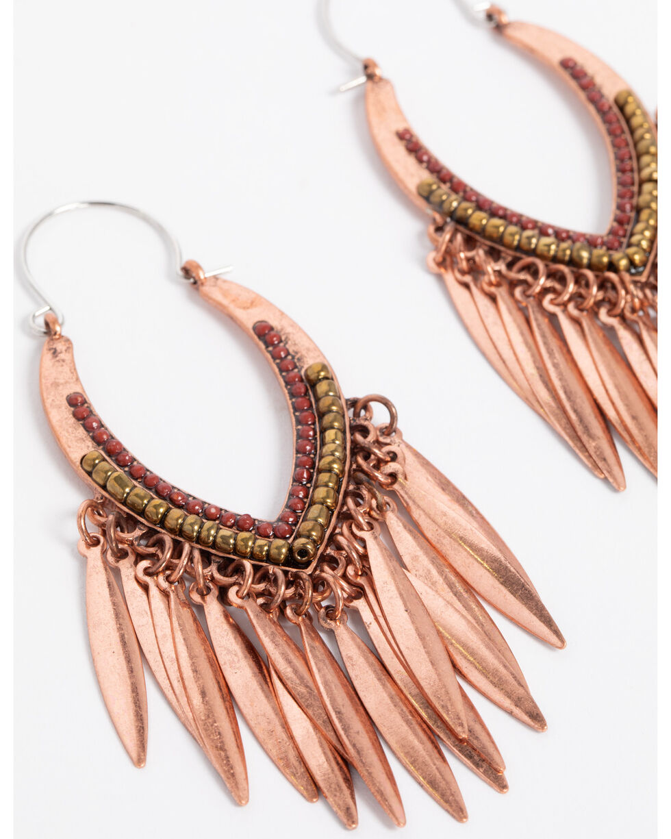 Shyanne Women's Texas Rose Fringe Statement Earrings, Rust Copper, hi-res