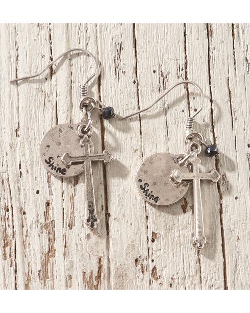 Shyanne Cross Charm Earrings, Silver, hi-res