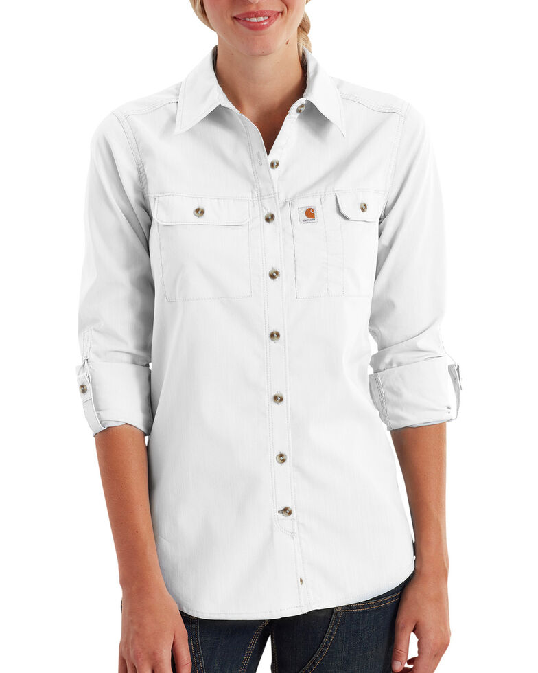 Carhartt Women's Force Ridgefield Shirt , White, hi-res