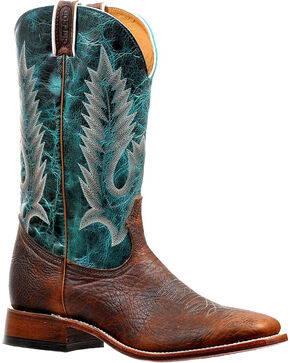 Boulet Men's Embroidered Boots - Square Toe, Brown, hi-res