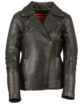 Milwaukee Leather Women's Long Length Vented Biker Jacket, Black, hi-res