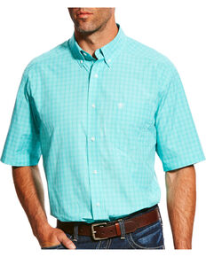 f9441189 Ariat Mens Pro Series Manny Plaid Short Sleeve Button Down Shirt, Green, hi-
