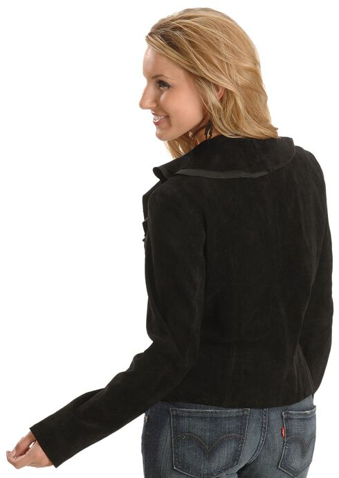 Scully Ruffled Suede Leather Jacket, Black, hi-res