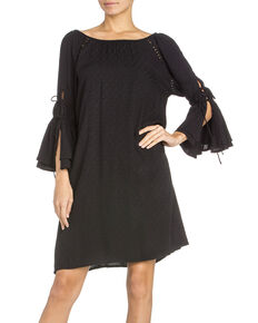 Miss Me Women's 3/4 Tie-Off Sleeve Dress, Black, hi-res