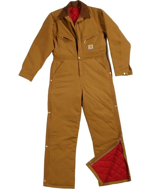Carhartt XO1 Quilt Lined Duck Coveralls - Short, Reg Inseams, Brown, hi-res