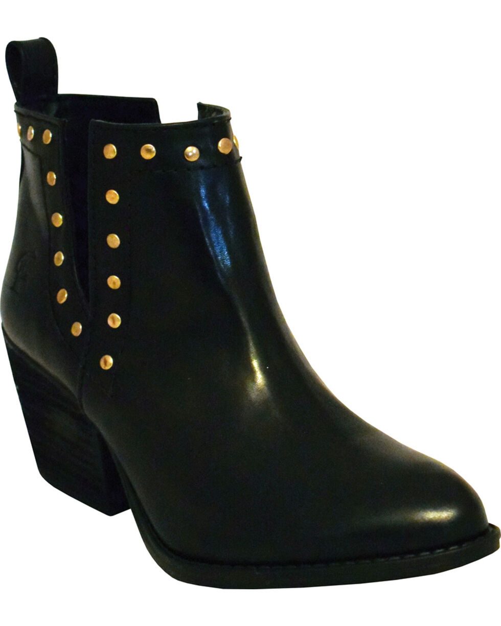 Ferrini Women's Smooth Black Leather Studded Short Boots - Round Toe, Black, hi-res