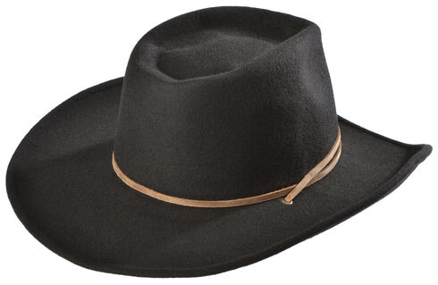 Juniper Wool Felt Cowgirl Hat, Black, hi-res
