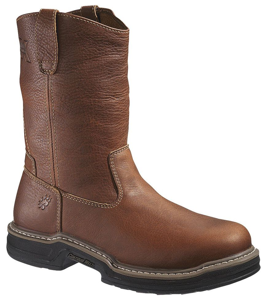 Wolverine Raider Pull-On Work Boots - Steel Toe, Brown, hi-res