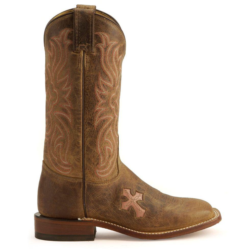 Tony Lama Cross Inlay Cowgirl Boots - Square Toe, Tan, hi-res