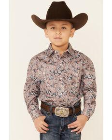 Amarillo Boys' Copper Ridge Canyon Paisley Print Long Sleeve Snap Western Shirt , Grey, hi-res