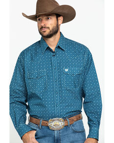 Cinch Men's Diamond Geo Print Snap Long Sleeve Western Shirt , Navy, hi-res