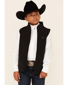 Cinch Boys' Solid Bonded Zip-Up Vest , Black, hi-res