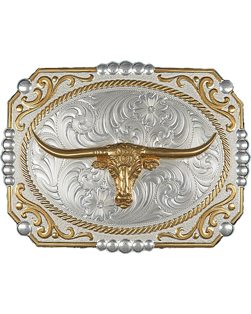 Montana Silversmiths Two-Tone Cowboy Cameo with Longhorn Buckle, Silver, hi-res