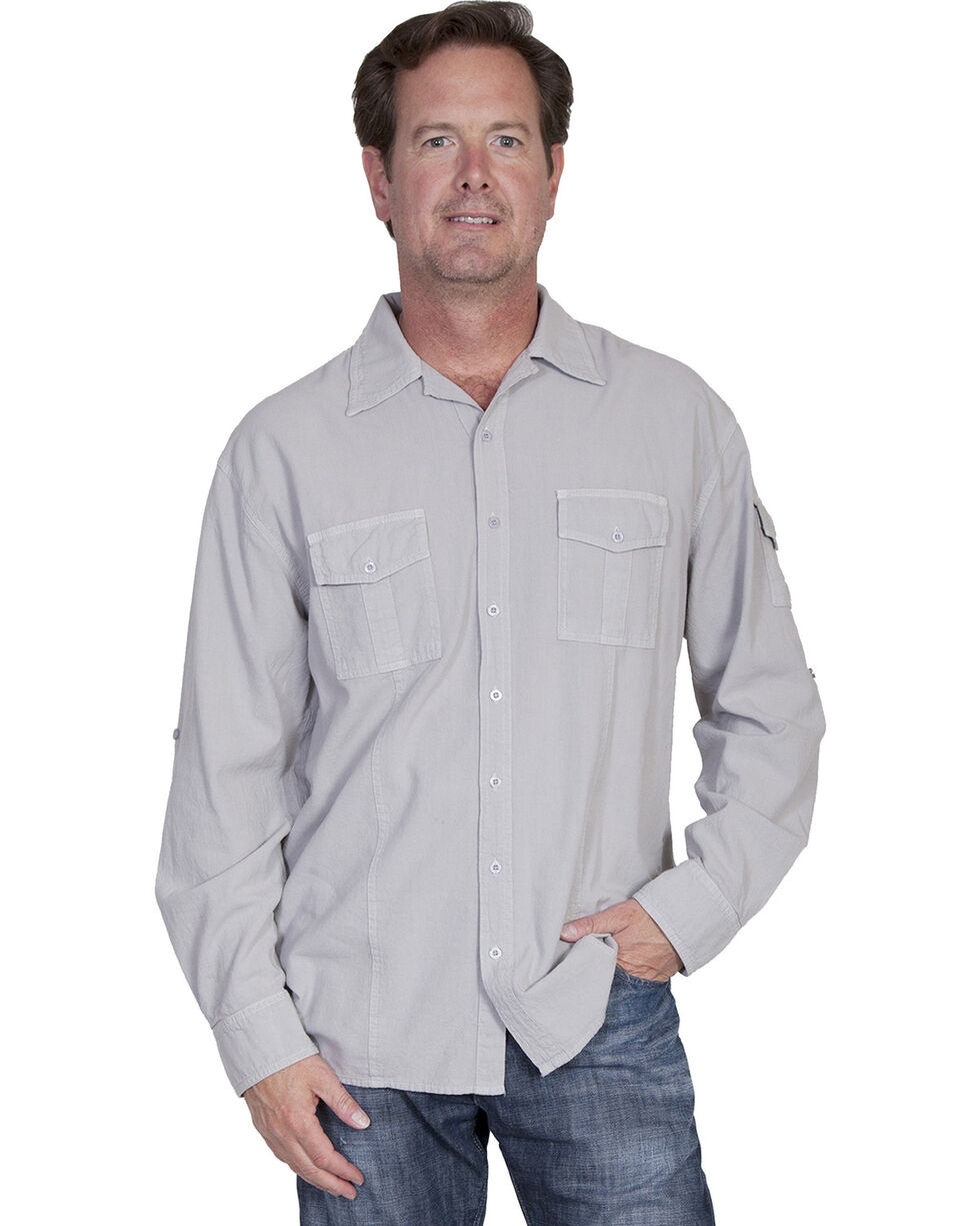 Scully Cantina Gusseted Pocket Shirt, Grey, hi-res