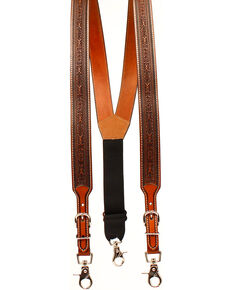 Nocona Men's Tooled Suspenders , Tan, hi-res