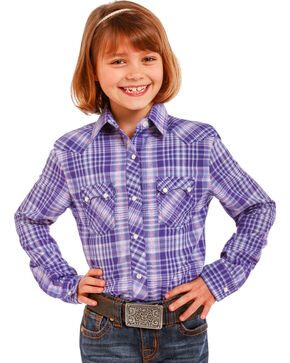 Panhandle Girls' Purple Cactus Plaid Shirt , Purple, hi-res