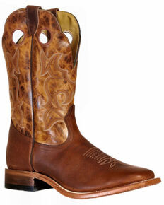 Boulet Men's Grizzly Sand Western Boots - Wide Square Toe, Cognac, hi-res