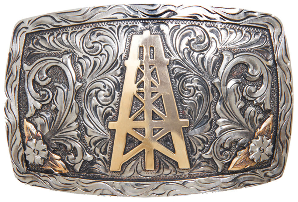 AndWest Laredo Vintage Oil Derrick Belt Buckle, Multi, hi-res