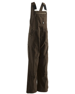 Berne Bark Unlined Washed Duck Bib Overalls - Short (30), Bark, hi-res