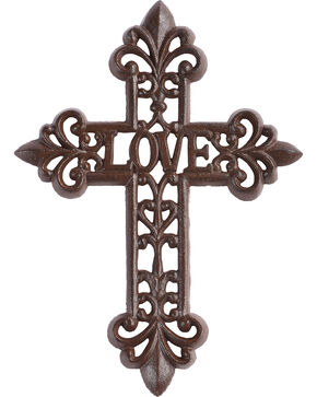 BB Ranch Love Antique Wall Cross, Brown, hi-res