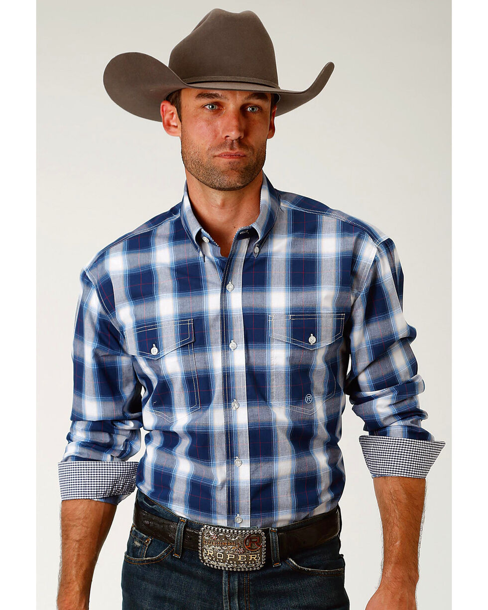 Roper Men's Navy Plaid Long Sleeve Western Snap Shirt, Navy, hi-res