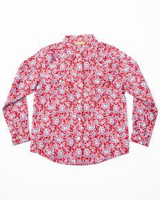 6f31c1cdc Wrangler Girls Red Paisley Print Long Sleeve Western Shirt, Red, hi-res