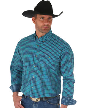Wrangler George Strait Navy Plaid Long Sleeve Shirt , Navy, hi-res