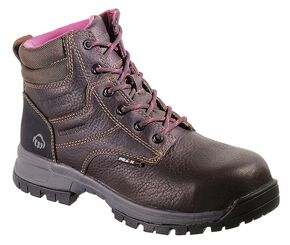 "Wolverine Piper Ladies 6"" Waterproof Work Boots - Composite Toe, Brown, hi-res"