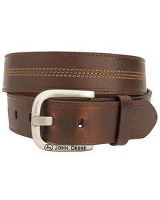 John Deere Contrast Stitch Leather Western Belt, Brown, hi-res