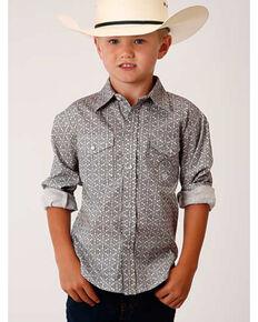 Amarillo Boys' Red Barn Medallion Print Long Sleeve Western Shirt , Grey, hi-res