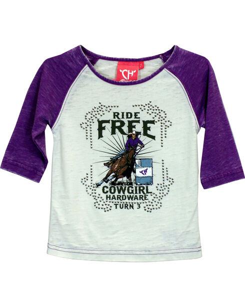 Cowgirl Hardware Girls' Ride Free Turn 3 Raglan T-shirt, Purple, hi-res