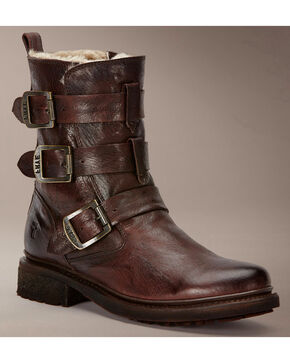 Frye Women's Valerie Strappy Shearling Ankle Boots, Dark Brown, hi-res