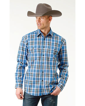 Roper Men's Crystal Blue Plaid Long Sleeve Button Down Shirt, Blue, hi-res