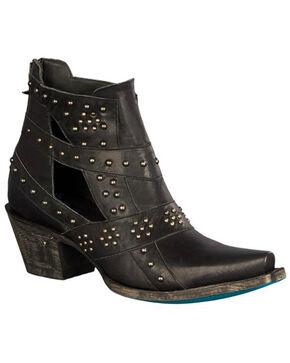 Lane Women's Black Studs & Straps Fashion Boots - Snip Toe , Black, hi-res