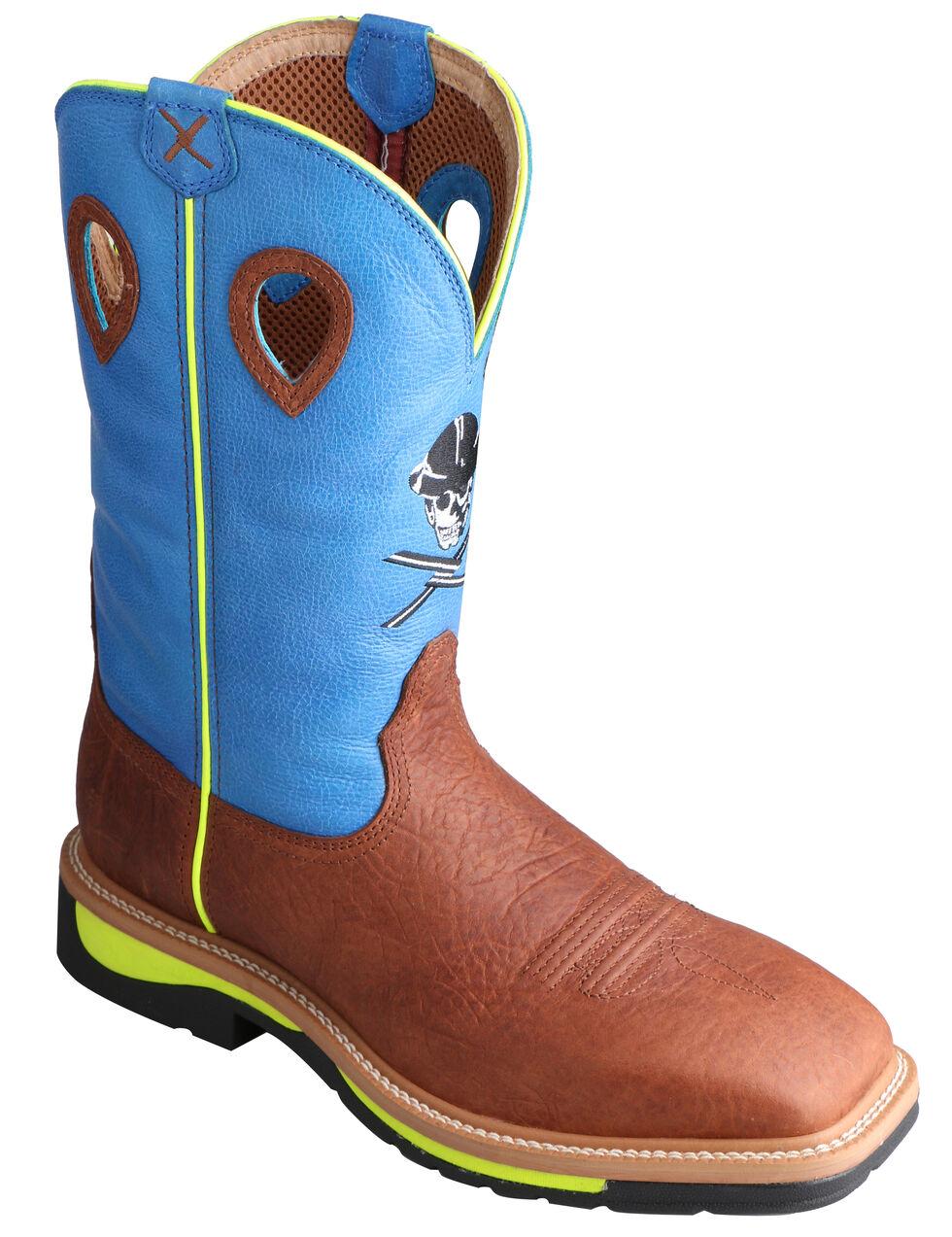 Twisted X Men's Neon Blue Lite Cowboy Work Boots - Steel Toe , Brown, hi-res