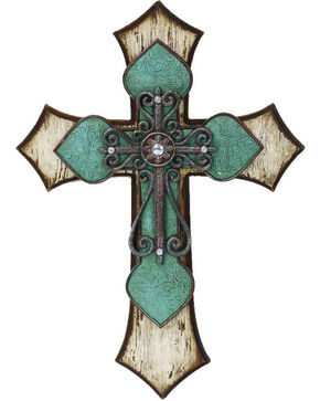 HiEnd Accents Wooden Cross with Tooled Turquoise Detail , Turquoise, hi-res