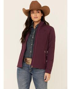 Ariat Women's Plum Agile Logo Zip-Front Softshell Jacket , Purple, hi-res