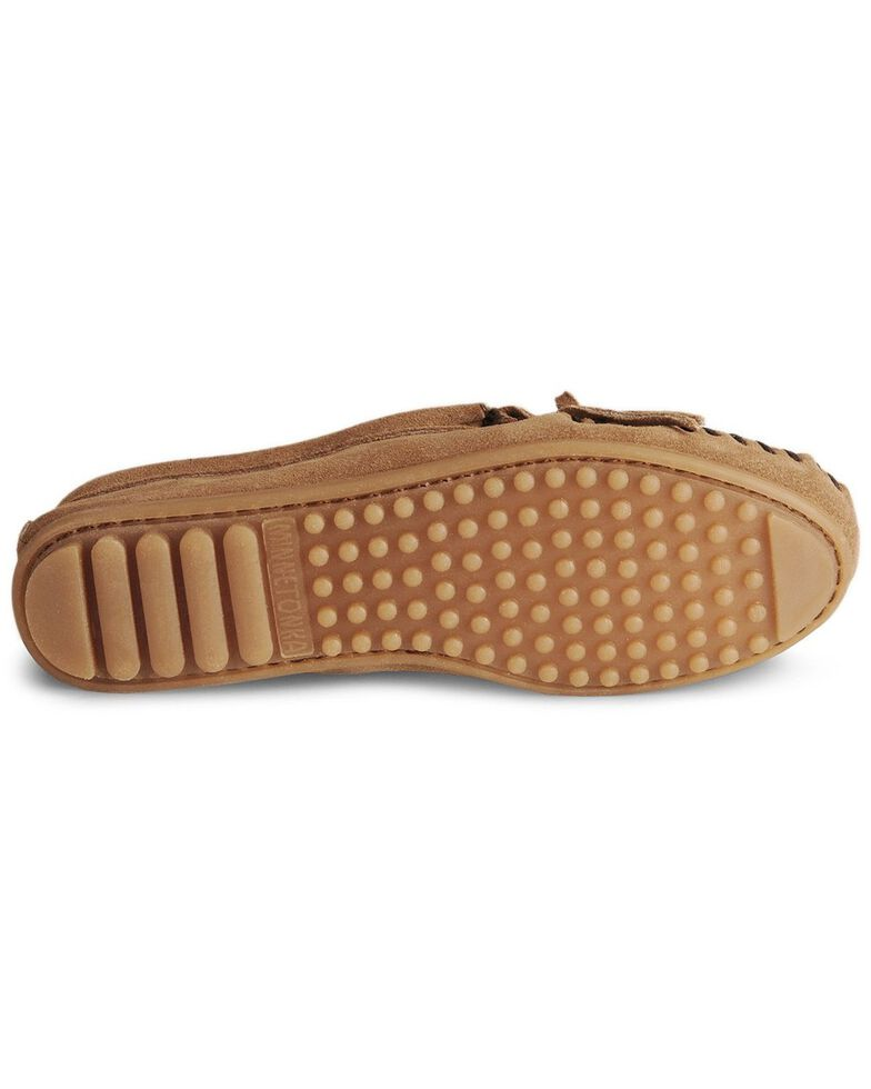 Women's Minnetonka Suede Kilty Moccasins, Taupe, hi-res