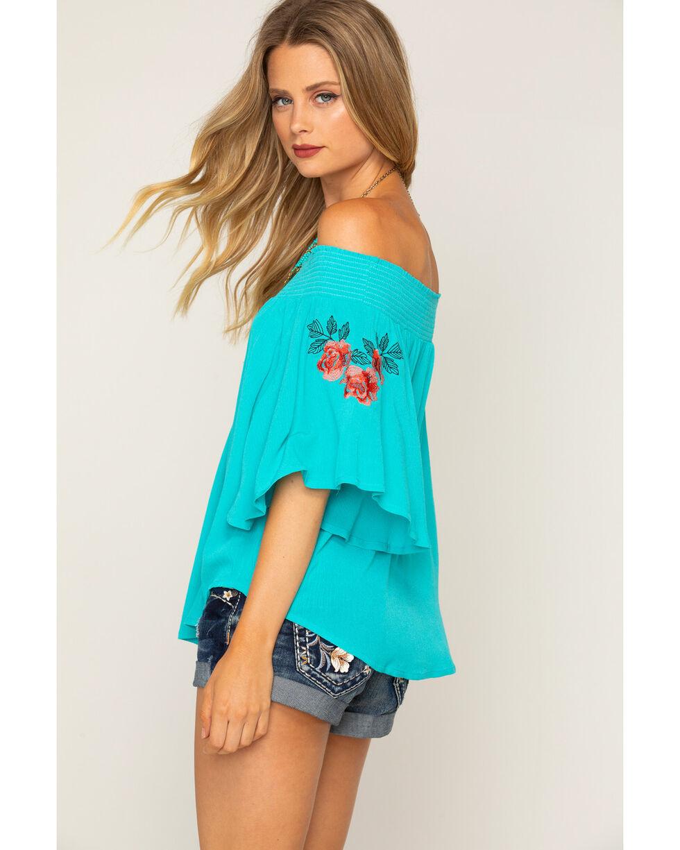 Shyanne Women's Turquoise Flowing Off The Shoulder Top, Blue, hi-res