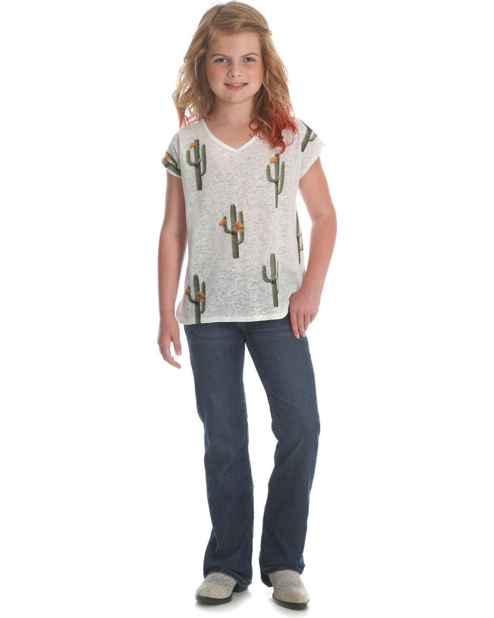 Wrangler Girls' Cream Cactus Print Top , Cream, hi-res