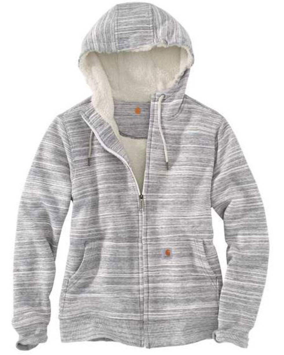 Carhartt Women's Grey Clarksburg Sherpa Lined Hoodie , Dark Grey, hi-res