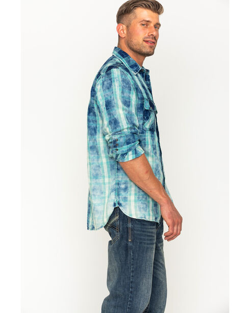 Ryan Michael Men's Indigo Faded Bleach Gingham Shirt , Indigo, hi-res