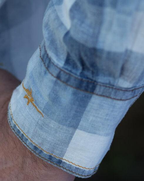 Ryan Michael Men's Faded Bleach Gingham Shirt - Big and Tall , Indigo, hi-res