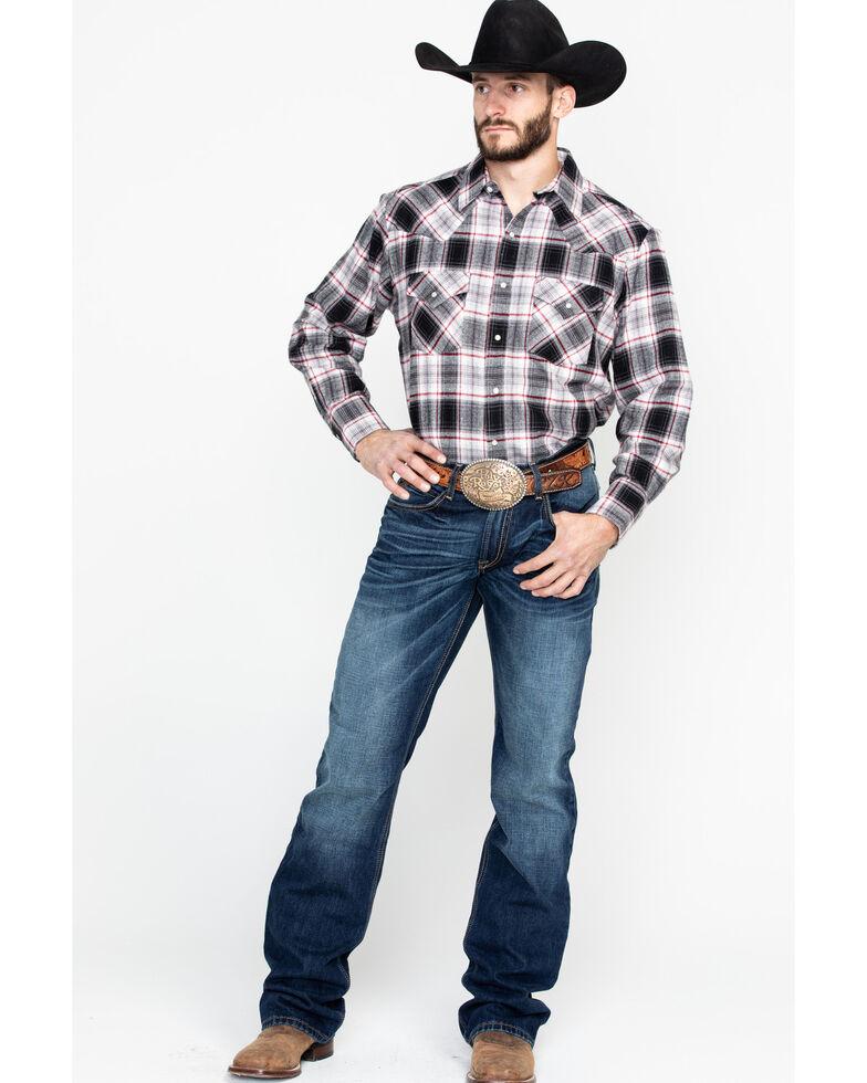 Ely Walker Men's Brawny Flannel Long Sleeve Western Shirt - Big , Grey, hi-res