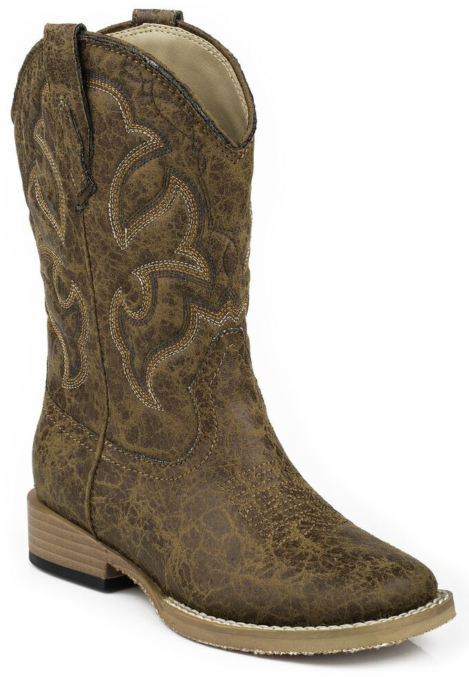 Roper Boys' Distressed Faux Leather Cowboy Boots - Square Toe, Tan, hi-res