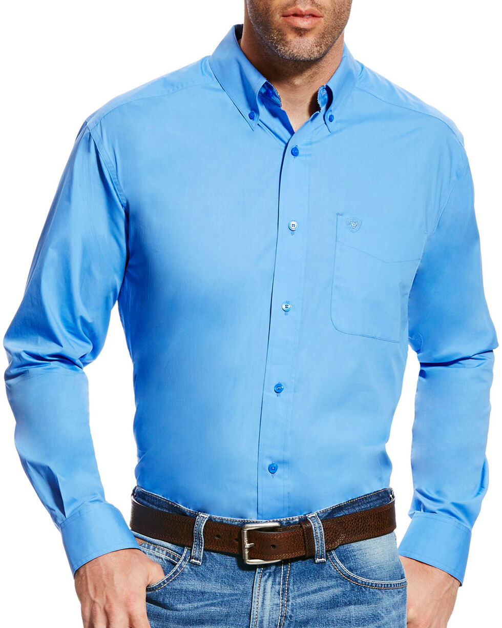 Ariat Men's Light Blue Solid Poplin Long Sleeve Button Down Shirt, Light Blue, hi-res