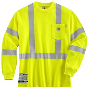 Carhartt Flame Resistant High Visibility Class 3 Long Sleeve Shirt, Lime, hi-res
