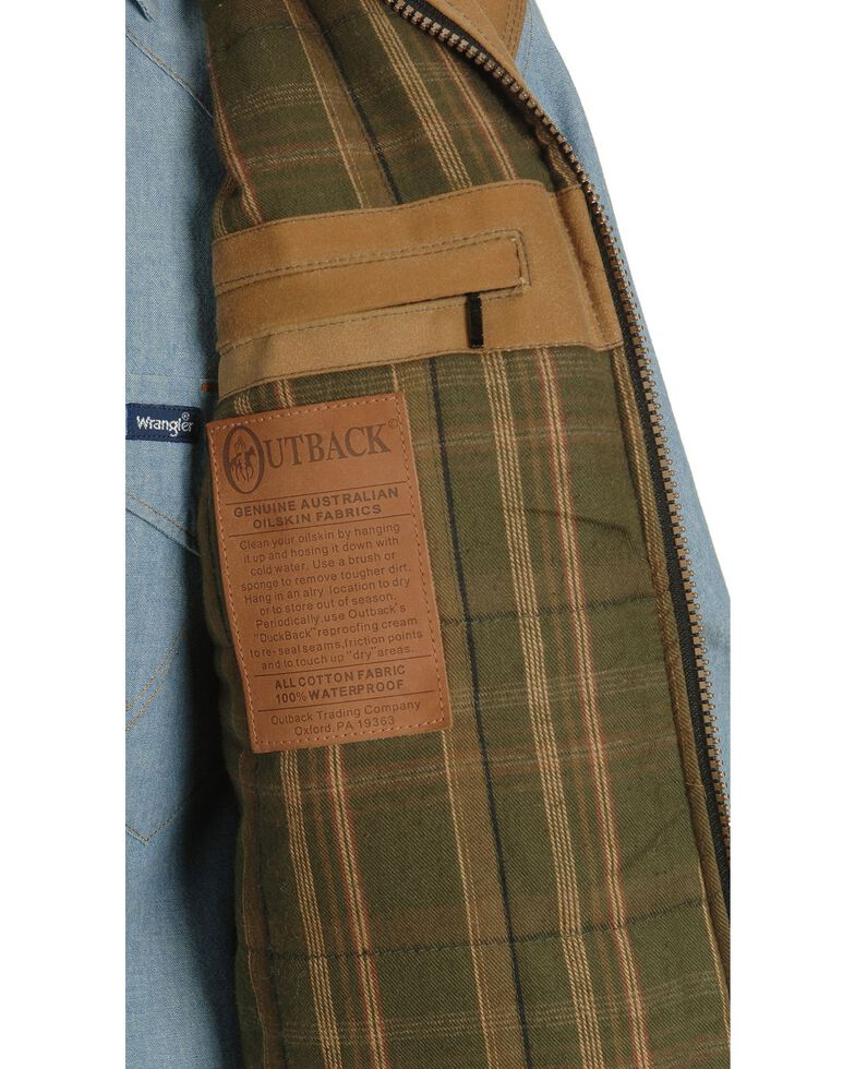 Outback Trading Co. Men's Sawbuck Flannel Lined Oilskin Vest, Tan, hi-res